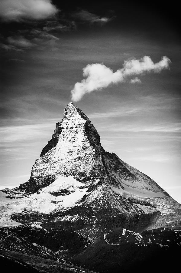 The Matterhorn,and wispy cloud, Swiss Alps Photograph by Mike Hill