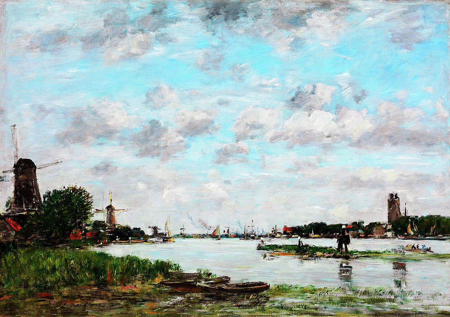 Pinwheel Painting - The Meuse Near Dordrecht - Digital Remastered Edition by Eugene Louis Boudin