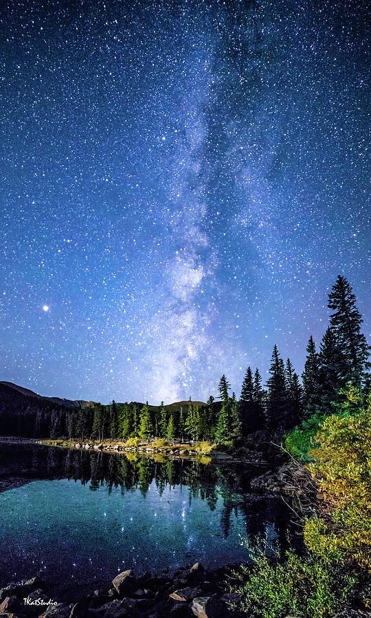 The Milky Way Over Echo Lake Autumn  by Tim Kathka