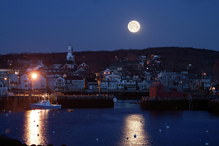 The Moon sets over Rockport Massachusetts by Jeff Folger