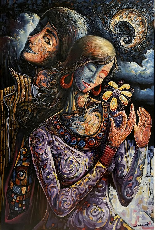 Couple Painting - The moons blessing by Darwin Leon