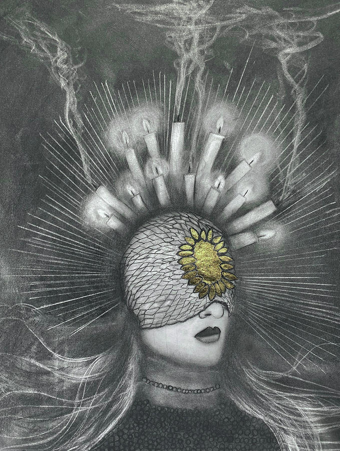 Gold Leaf Drawing - The Mystic by Nadija Armusik