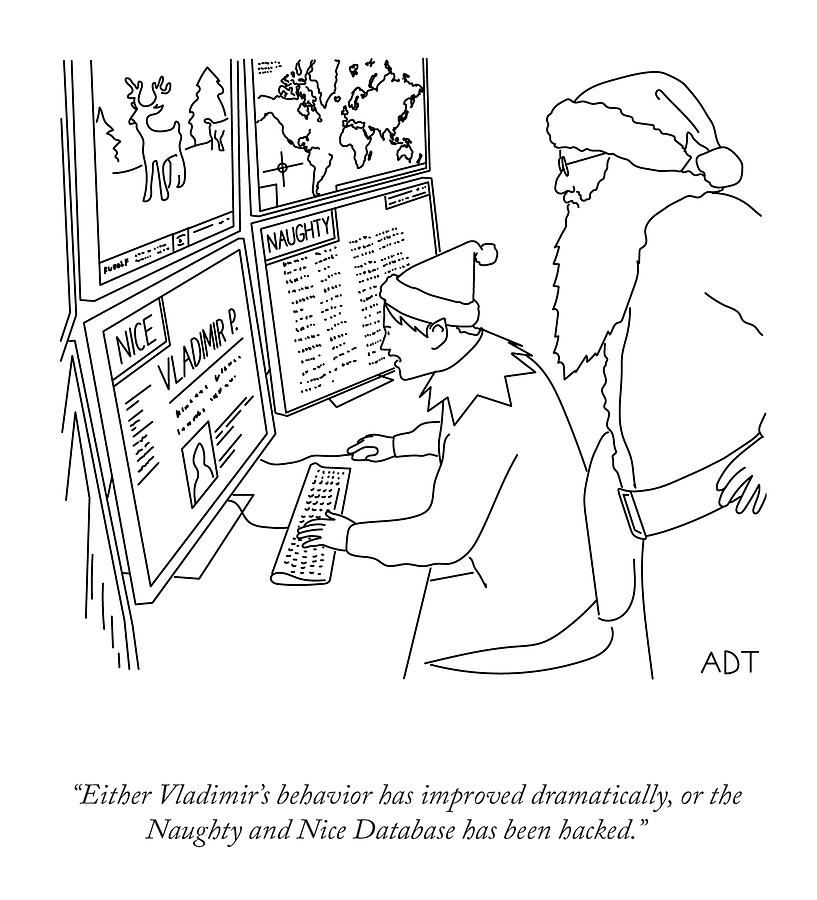 The Naughty And Nice Database Drawing by Adam Douglas Thompson