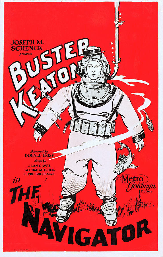 The Navigator, Buster Keaton Film Poster 1924 by Metro Goldwyn