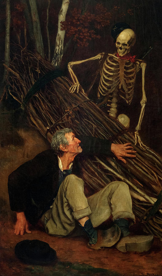 The Old Man And Death 1863 Painting By Sobeslav Pinkas