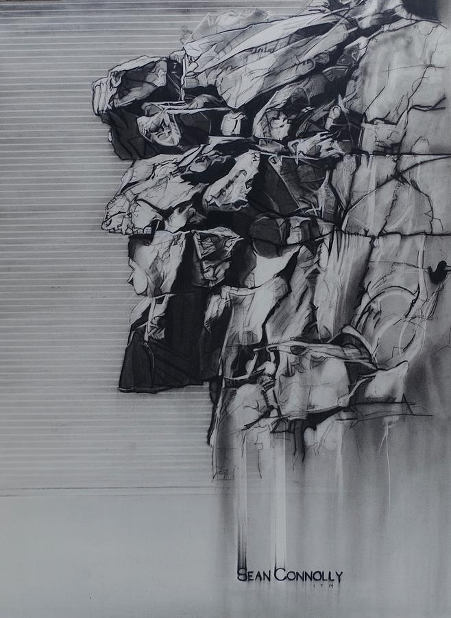 Charcoal Pencil Drawing - The Old Man Of The Mountain by Sean Connolly