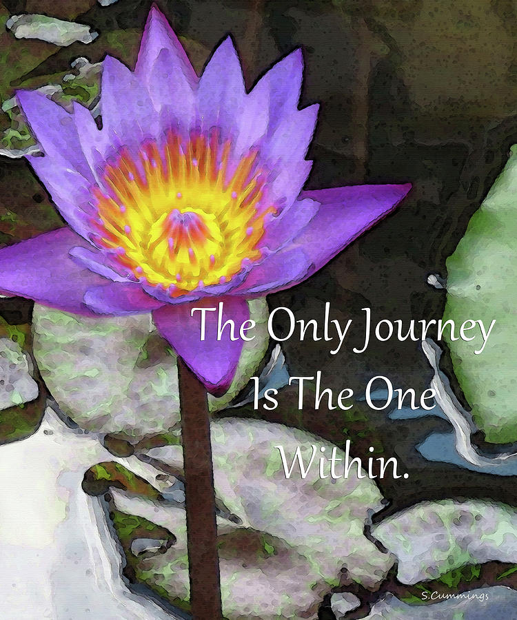 Serenity Painting - The Only Journey - Lotus Flower Art - Sharon Cummings by Sharon Cummings