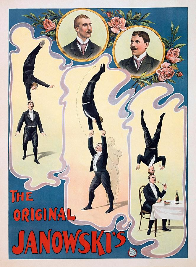 Lithographic Poster Painting - The Original Janowskis Acrobats 1910 by Cool Vintage Art