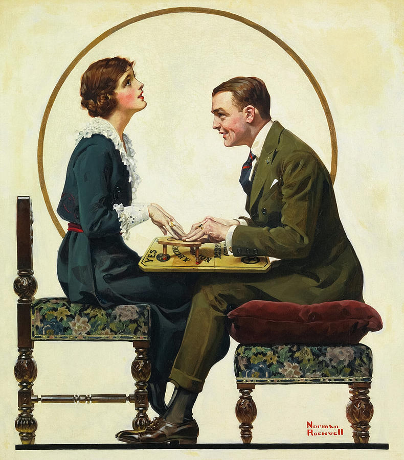 Norman Rockwell Painting - The Ouija Board, 1920 by Norman Rockwell