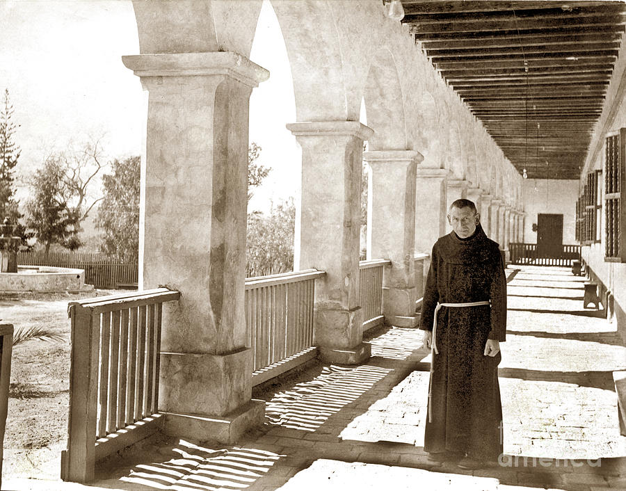 The Outer Corridor, Santa Barbara Mission by California Views Archives Mr Pat Hathaway Archives