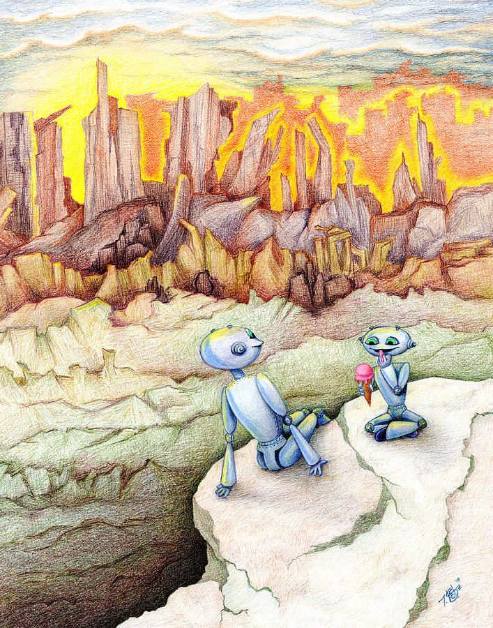 Robots Drawing - The Overlook by Tes Scholtz