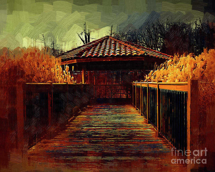 Pavilion Digital Art - The Pavilion By The River In Gothic Oil by Kirt Tisdale