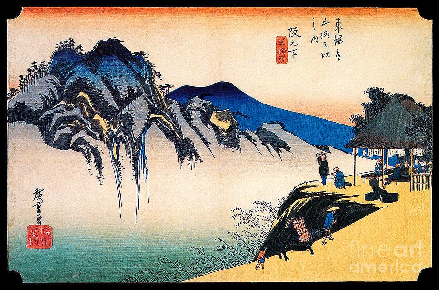 Utagawa Painting - The Peak of Fudesute Mountain from Sakanoshira  by Utagawa Hiroshige