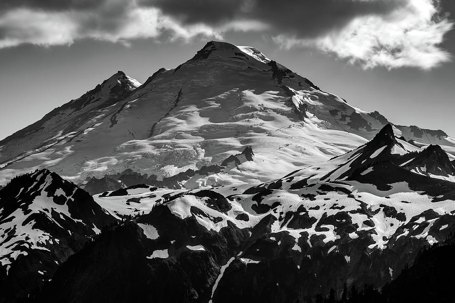 The Peak Of Mount Baker In Black And White Photograph