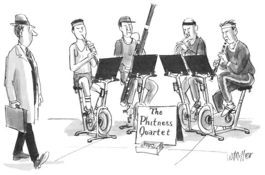 The Phitness Quartet Drawing by Warren Miller