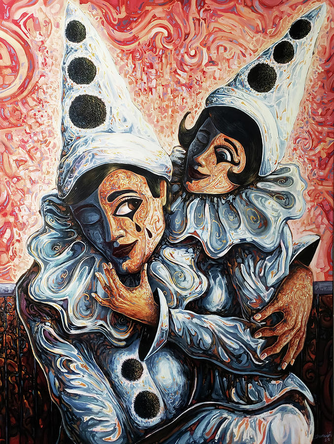 Couples Painting - The Pierrots by Darwin Leon