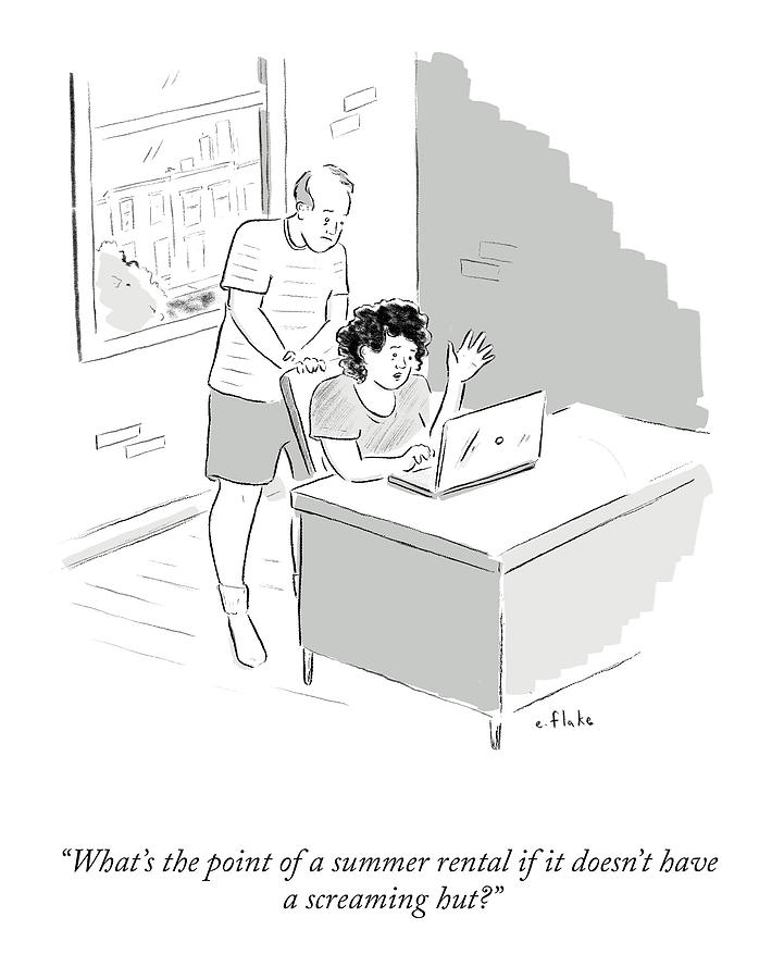 The Point Of A Summer Rental Drawing by Emily Flake