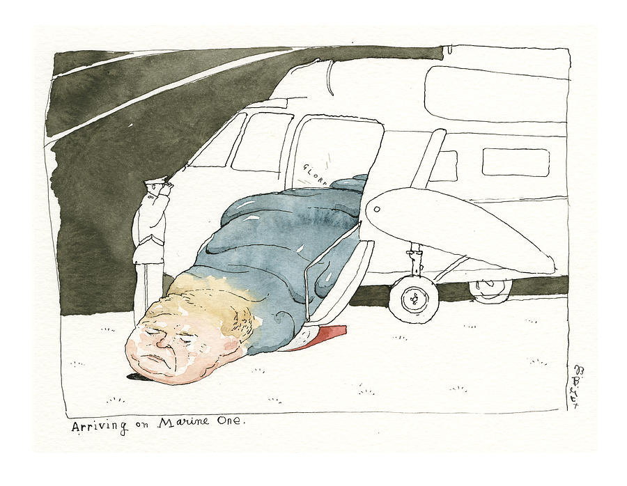 The President, as a Viscous, Cascading Gelatin. Arriving on Marine One Painting by Barry Blitt