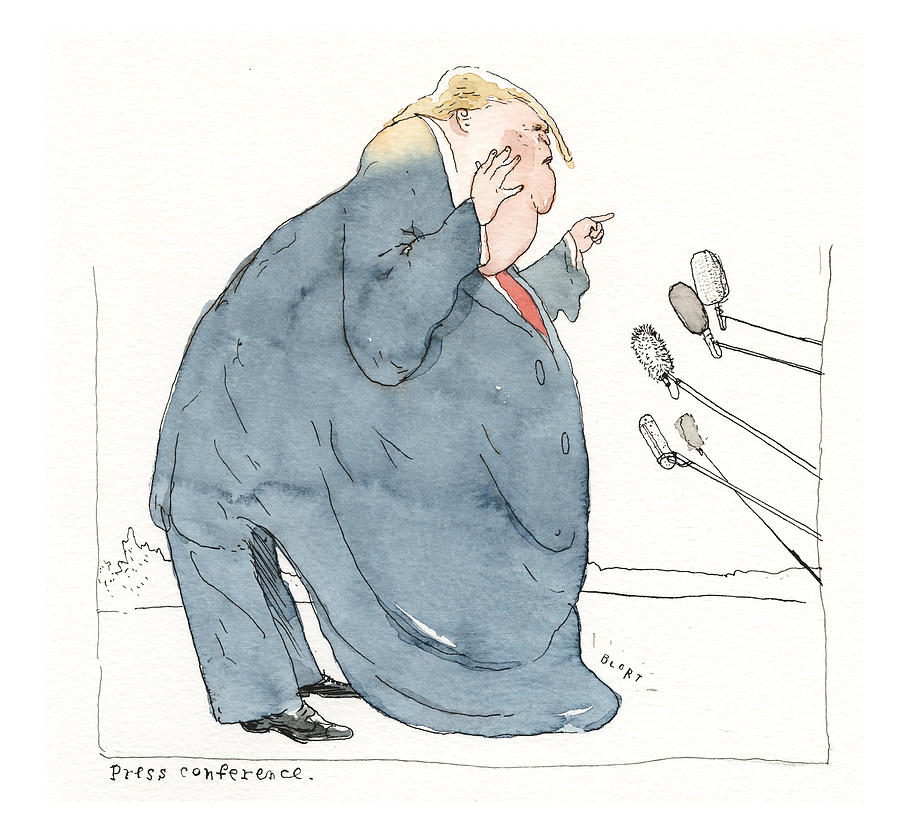 The President, as Viscous, Cascading Gelatin. Press Conference Painting by Barry Blitt
