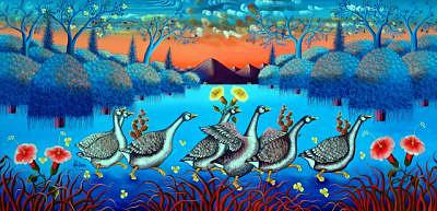 The Procession 24x48 by Frantz Petion Painting by Frantz Petion