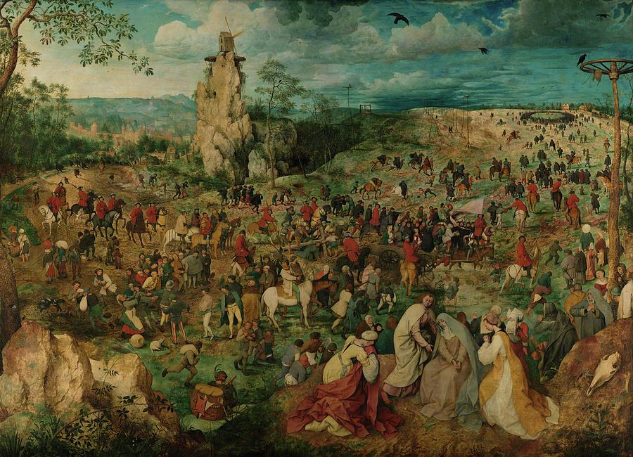 Pieter Bruegel The Elder Painting - The Procession To Calvary, 1564 by Pieter Bruegel the Elder