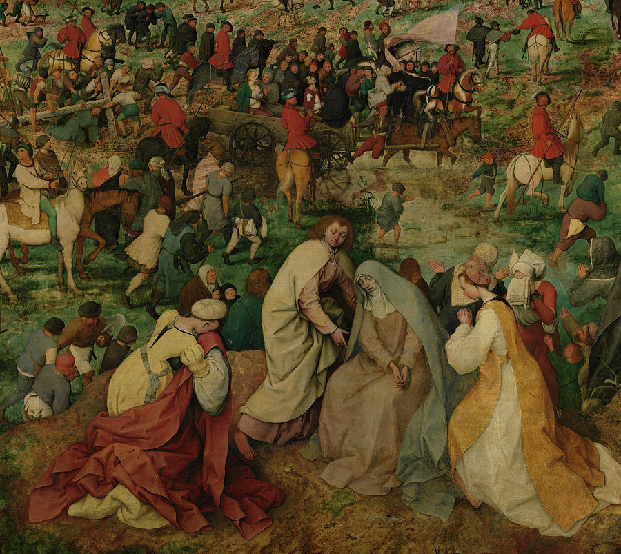 Pieter Bruegel The Elder Painting - The Procession To Calvary, Virgin Mary by Pieter Bruegel the Elder