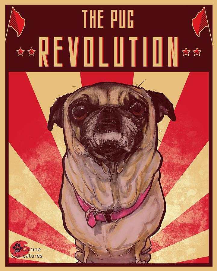 The Pug Revolution Drawing