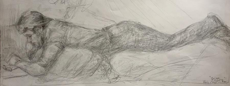 The Reader II, Orignal Impressionist Drawing by Quin Sweetman