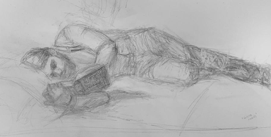 The Reader, Impressionist Drawing by Quin Sweetman