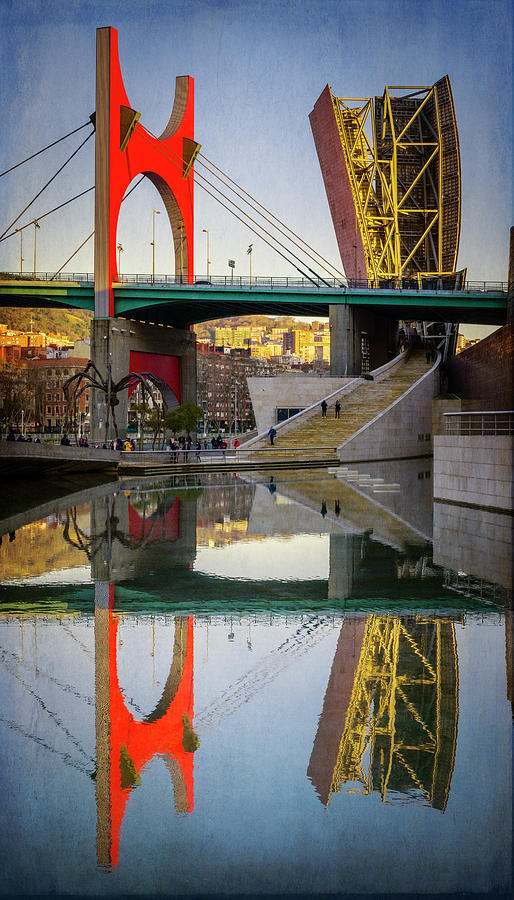 The Red Arches And Tower Bilbao Spain Photograph