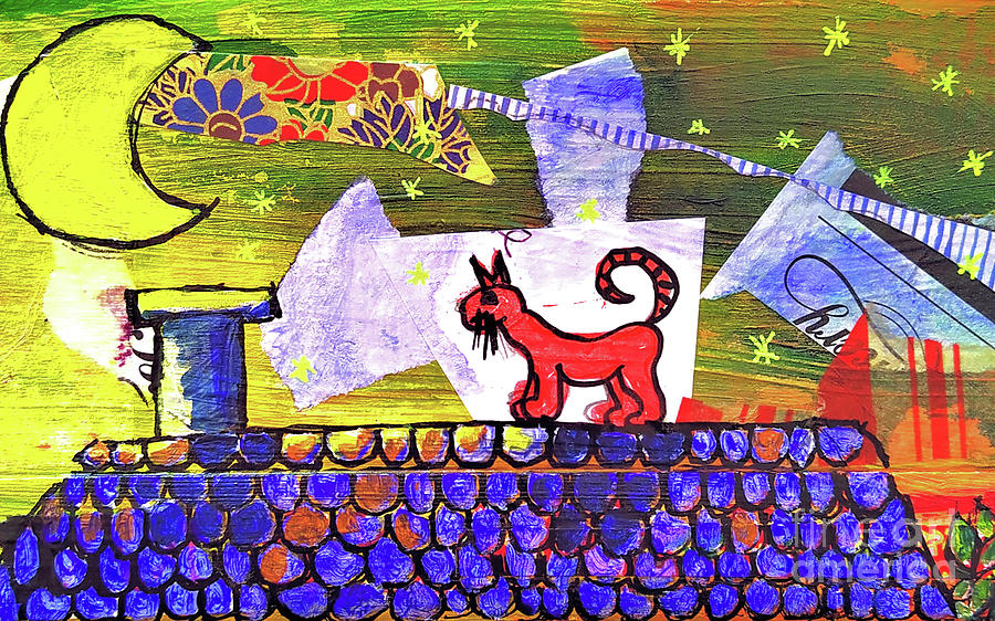 The Red Cat On The Roof Mixed Media