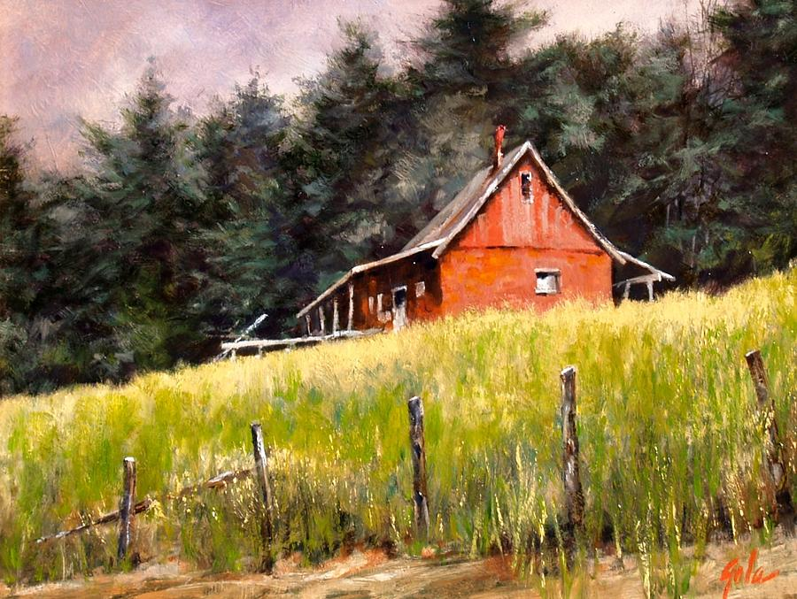 Landscape Painting - The Red Coach Stop by Jim Gola