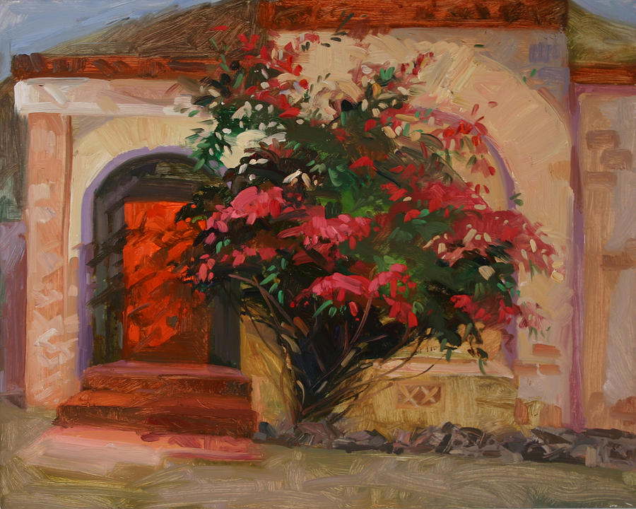 Bougainvillea Painting - The Red Door - Catalina Island by Betty Jean Billups