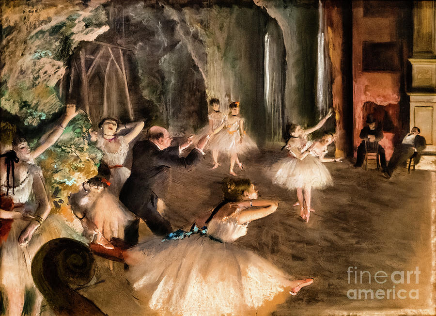 The Rehersal of the Ballet Onstage 1874 by Degas by Edgar Degas