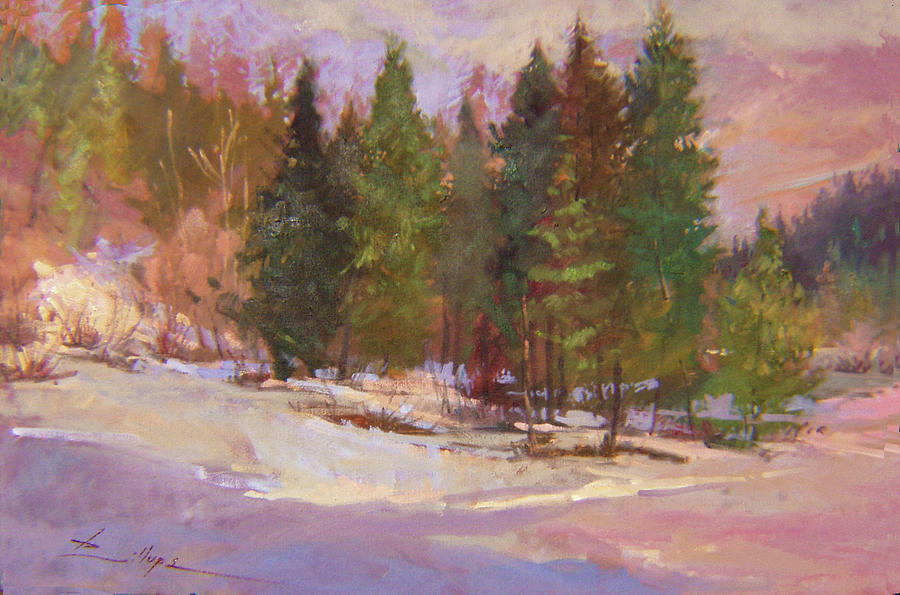 Snow Landscape Painting - The Road Home  Plein Air by Betty Jean Billups
