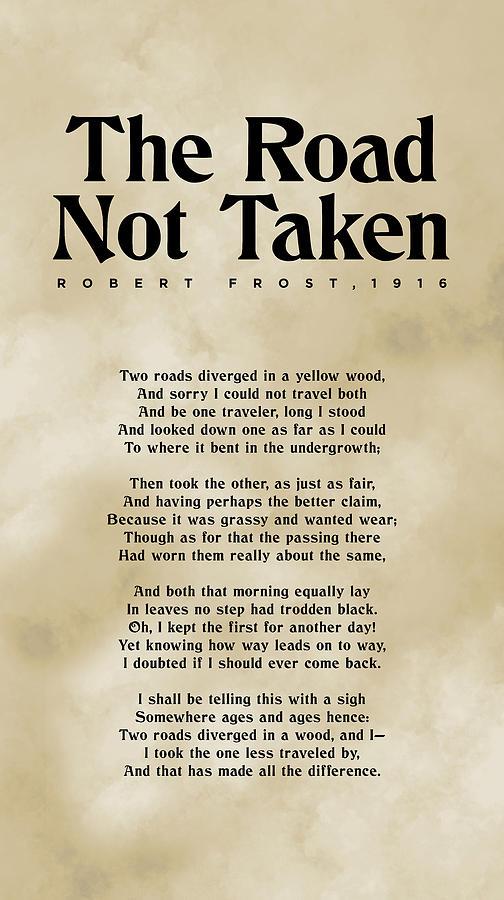 The Road Not Taken - Robert Frost - Typographic Print 03 - Literature Mixed Media