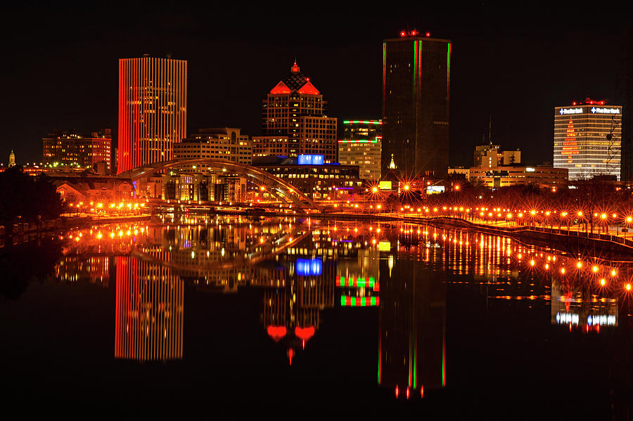 The Rochester Skyline Lit up For Christmas Genesee River Reflection by Toby McGuire