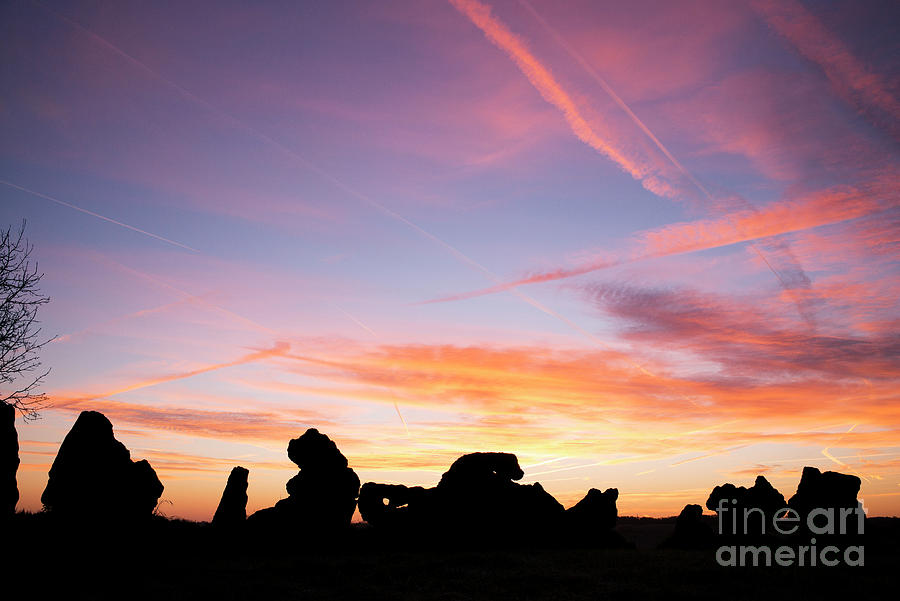 The Rollright Stones Autumn Sunrise Silhouette by Tim Gainey