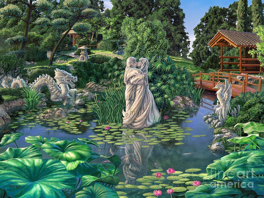 Oriental Garden Painting - The Romance Garden by Stu Shepherd