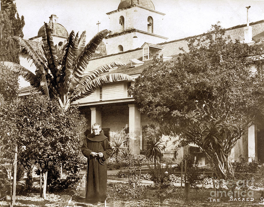 The Sacred garden, Santa Barbara Mission by California Views Archives Mr Pat Hathaway Archives