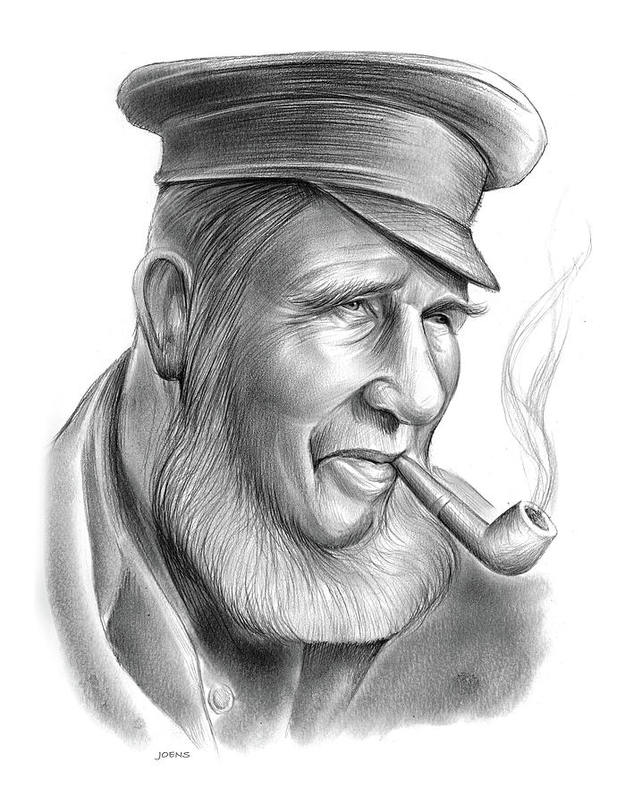 Captain Drawing - The Sea Captain - pencil by Greg Joens