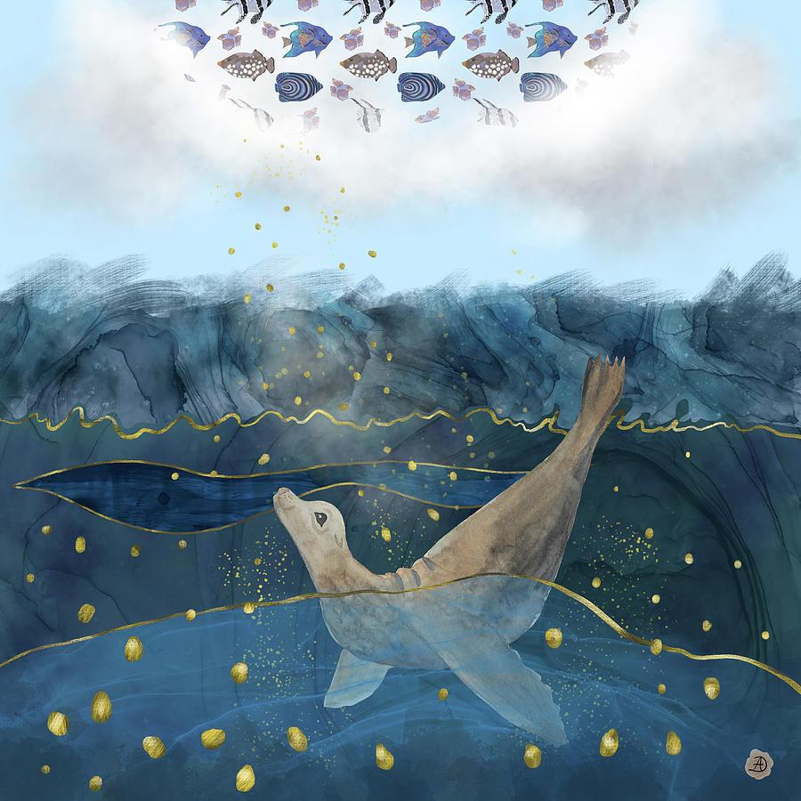 Global Warming Digital Art - The Sea Lions Dream - Climate Change Reality by Andreea Dumez