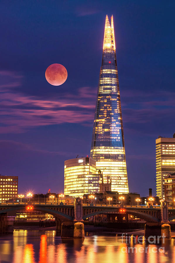 London Photograph - The Shard And Red Moon, London by Neale And Judith Clark