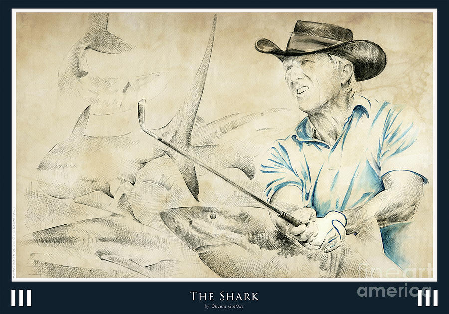 Golfer Painting - The Shark - Poster by Olivera Cejovic