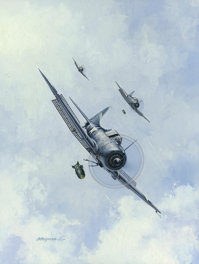 Sbd Dauntless Painting - The Silver Waterfall by Wade Meyers