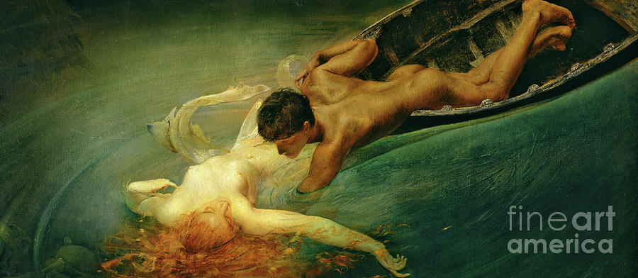 The Siren Painting - The Siren, Green Abyss by Giulio Aristide Sartorio