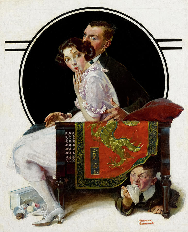 Norman Rockwell Painting - The Sneezing Spy, 1921 by Norman Rockwell