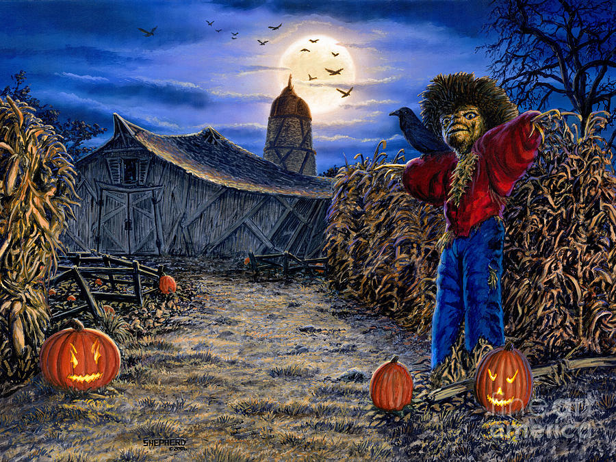 Halloween Painting - The Spooky Scarecrow by Stu Shepherd