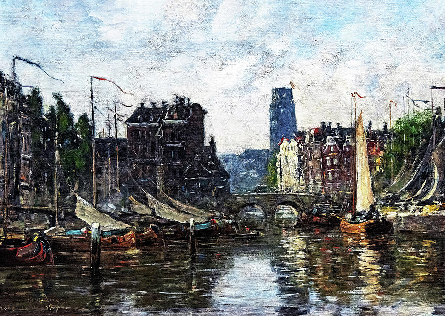 Eugene Louis Boudin Painting - The Stock Exchange Bridge - Digital Remastered Edition by Eugene Louis Boudin