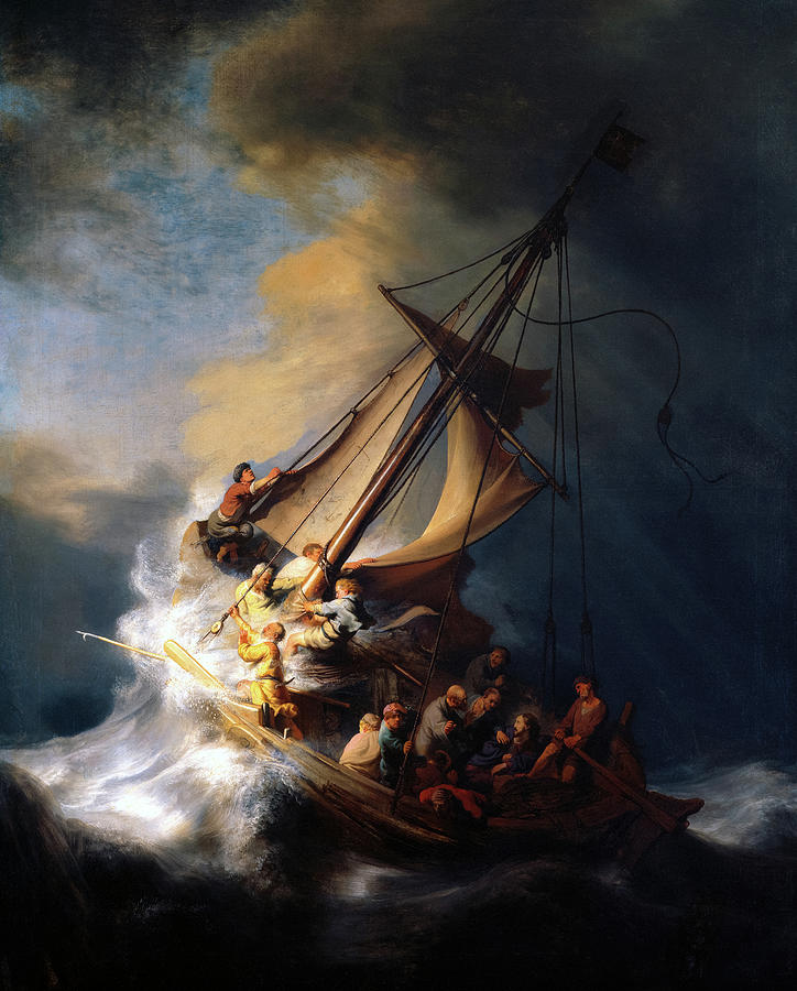 Rembrandt Van Rijn Painting - The Storm on the Sea of Galilee, miracle of Jesus, 1633 by Rembrandt